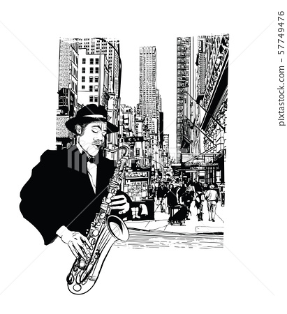 Jazz saxophonist in New York 57749476