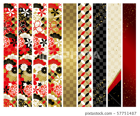 Congratulations red black gold white Japanese pattern line set 57751487