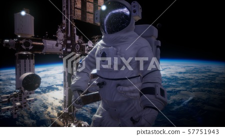 International Space Station and astronaut in outer 57751943