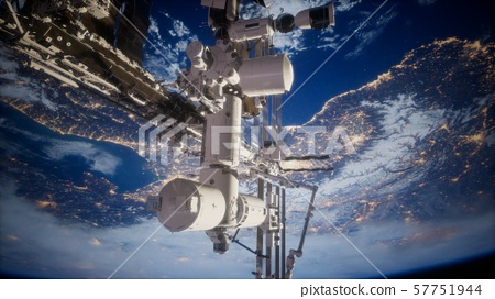 Earth and outer space station iss 57751944