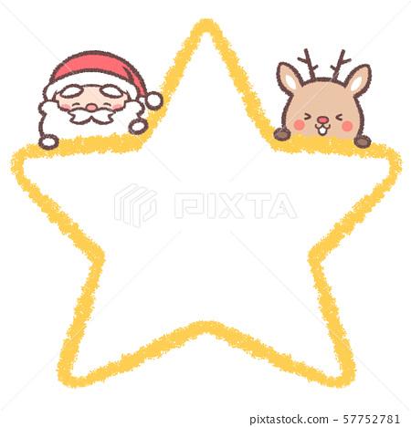 聖誕老人馴鹿微笑明星框架 57752781