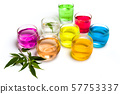 Colorful cocktail juices with marijuana isolated 57753337