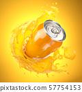 Orange juice or soda can with orange splash on 57754153