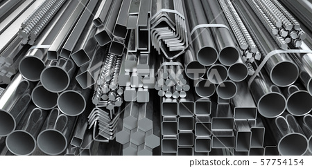 Different metal rolled products. Stainless steel 57754154