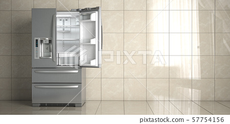 Side by side stainless steel refrigerator on white 57754156
