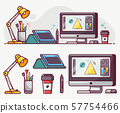 Digital Designer or Illustrator Lifestyle Line Icons 57754466