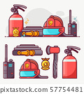 Fire Fighting Department Line Art Icon Set 57754481