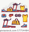 Sport Running and Fitness Lifestyle Icon Set 57754484