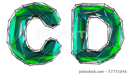 Realistic 3D letters set C, D made of low poly style. Collection symbols of low poly style green 57755848
