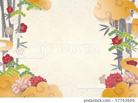 일본식 모던 - 종이의 감촉 - 연하장 - 새해 - 호화 찬란한 57763669