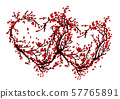 Two hearts made from sakura tree for your design 57765891