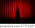 Red curtain on theater or cinema stage slightly 57771497