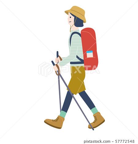 女人徒步旅行 57772548