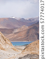 Pangong Lake with rocky mountains situated on the 57774017