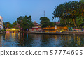 Melaka old town by night. Malacca river 57774695