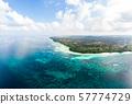 Aerial view tropical beach island reef caribbean 57774729