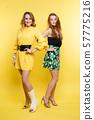 Two girls in dresses on yellow.Pretty women in 57775216