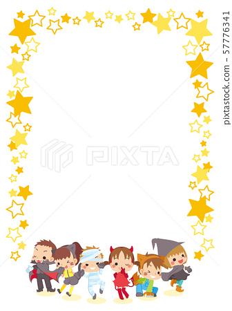 萬聖節服裝和星空框架的孩子 57776341