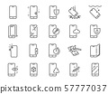 Smartphone protection line icon set.  57777037