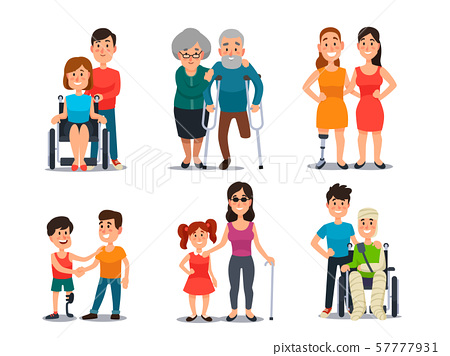 Caring disabled person. Handicapped people with group of friends. Friendly help and care to 57777931