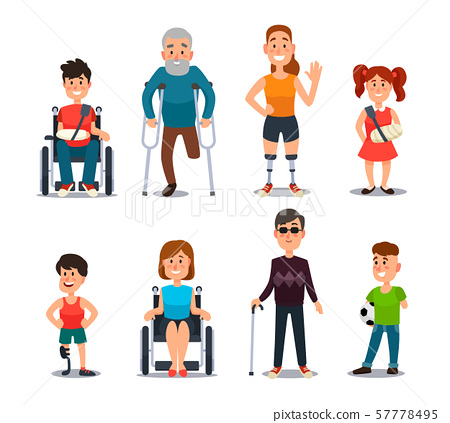 Disability people. Cartoon sick and disabled characters. Person in wheelchair, injured woman 57778495