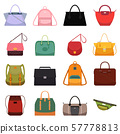 Woman leather casual bags handbag satchel reticule and colorful bag isolated vector illustration 57778813