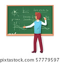Teacher write on blackboard. School professor teach students, explaining charts formulas graphs on 57779597