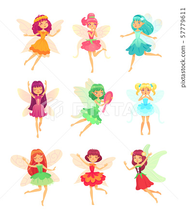 Cartoon fairy girls. Cute fairies dancing in colorful dresses. Magic flying little creatures 57779611