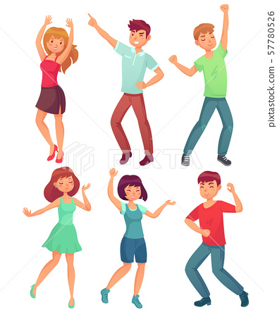 Cartoon dancing people. Happy dance of excited teenager, young women men character at party 57780526