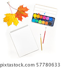Flat lay sketchbook autumn leaves watercolor 57780633