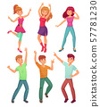 Cartoon people dance. Adult persons smiling and dancing at disco party. Funny partying person vector 57781230