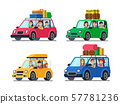 Family traveling cars. Happy people travel in car. Vacation trip with mother and father in minivan 57781236