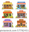 Flat store. Modern shop, boutique shopfront and restaurant facade design. Shopping stores cartoon 57782431