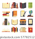 Flat books icons. Magazines with bookmark, history and open science book stack. Encyclopedia on 57782512
