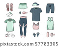 Running clothes set of hand drawn illustrations. 57783305