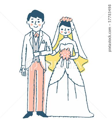 新娘和新郎粉紅色 57783498