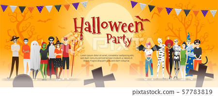 Happy Halloween party , group of teens in Halloween costume concept standing together on graveyard background 57783819