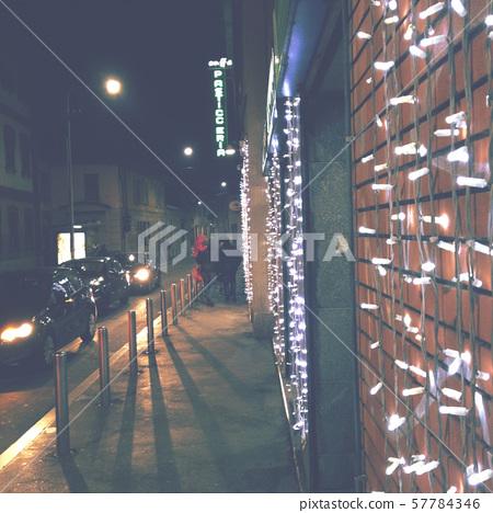 Christmas street decorations in Milano, Italia, 2018 57784346