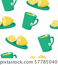 Seamless pattern with cup of tea and helthy fruit  57785040