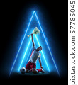 Soccer neon concept. Soccer player celebrate victory. Blue neon light. Isolated 57785045