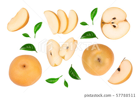 Fresh asian pear with leaves isolated on white background. Top view. Flat lay. 57788511