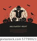 Halloween spooky poster, greeting card mockup. 57790021