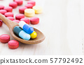 Antibiotics contain blue pills, yellow-red or 57792492
