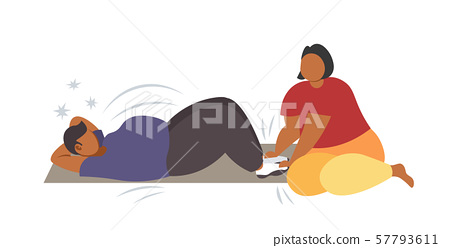 fat man doing sit-ups abdominal exercises with overweight woman holding his legs african american 57793611