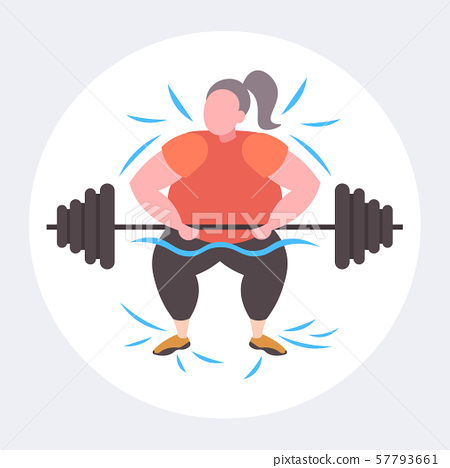 fat obese woman lifting barbell overweight girl cardio training workout weight loss concept flat 57793661