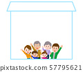 3 generation family waving hand, character space illustration 57795621