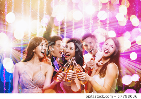 happy young people celebrating new year and having 57798036