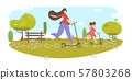 Happy Family Outdoors Fun and Sport Activity. 57803268