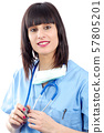 closeup portrait of young female medical on white 57805201