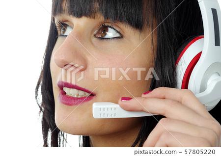 Brunette Female Support Phone Operator In Headset Stock Photo 57805220 Pixta